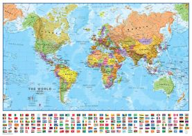 Medium World Wall Map Political with flags (Laminated)